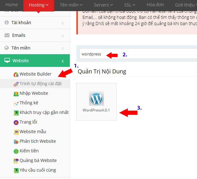 cài đặt một website sử dụng wordpress