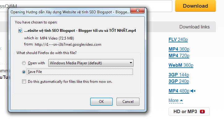 Bạn click vào chất lượng mình cần VD: MP4 720, và trình duyệt sẽ hỗ trợ bạn tải về Video.