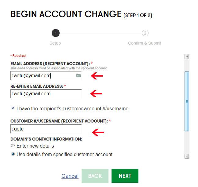 Điền Email của tài khoản nhận, và tên username của tài khoản nhận