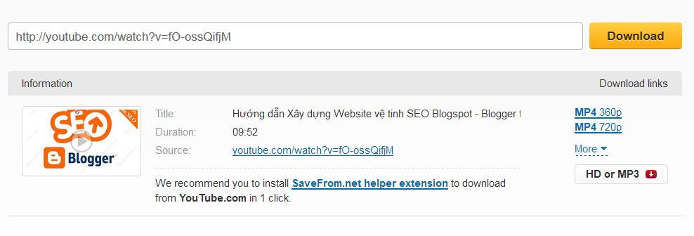 Hướng dẫn tải video youtube miễn phí