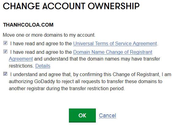 Xác nhận thay đổi tài khoản