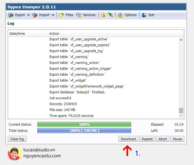 Chờ cho tới khi trạng thái backup hoàn tất 100% ta Download về máy