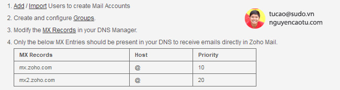 Cấu hình domain cho việc gửi và nhận email
