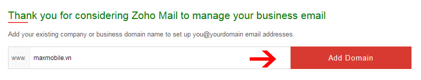 Điền tên miền mình cần tạo email tenban@domain.com
