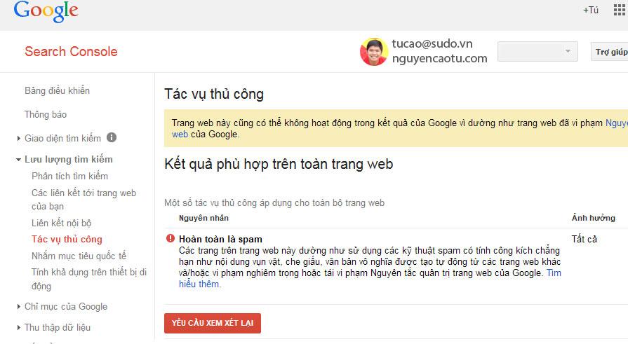 SPam Tác vụ thủ công bị cảnh báo từ Google