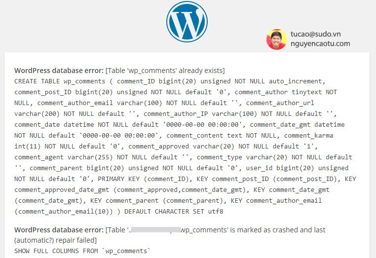 Kết quả hiển thị lỗi trên WordPress