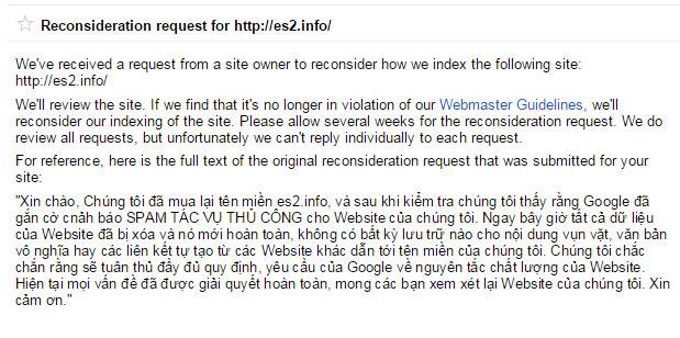 Yêu cầu xem xét lại Website của bạn