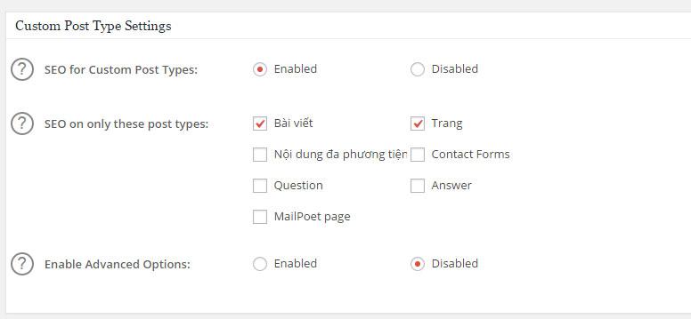 Lựa chọn trang bạn sẽ SEO. Ở đây mình chỉ SEO bài viết và Trang.