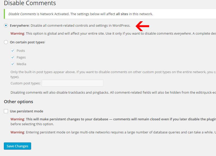 Tắt bình luận mặc định của WordPress