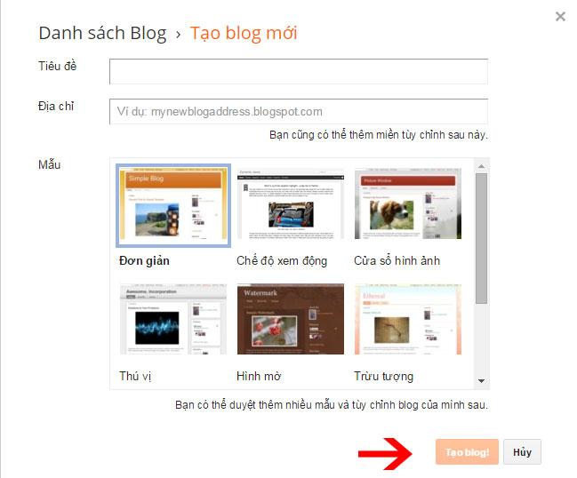 Điều Tiêu đề, chọn đường dẫn Blog và giao diện để khởi tạo