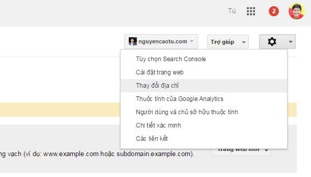 Thay đổi địa chỉ Website