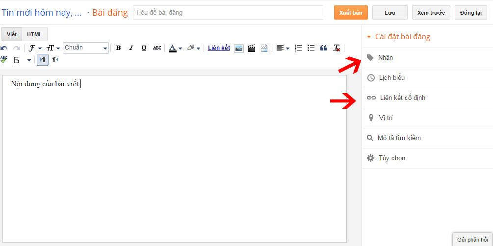 Giao diện khung soạn thảo của Blogspot