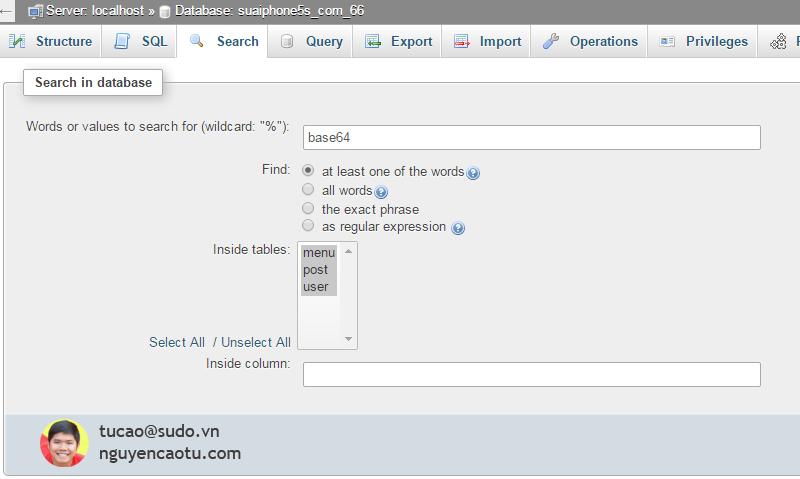 Tìm kiếm Shell trong Database