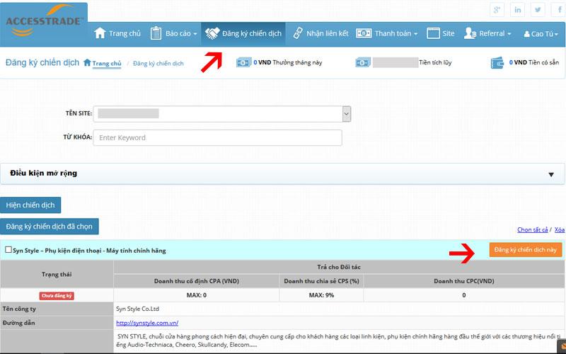 Lựa chọn chiến dịch phù hợp với người dùng của bạn và đăng ký