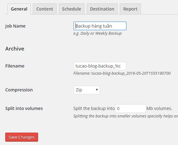 Cấu hình plugin: Đặt tên gói backup, tên file, kích thước file.