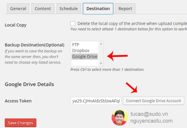 Lựa chọn nơi lưu trữ file backup. An toàn nhất Tú chọn Google Driver