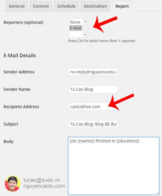 Cài đặt email để nhận thông báo khi backup hoàn tất