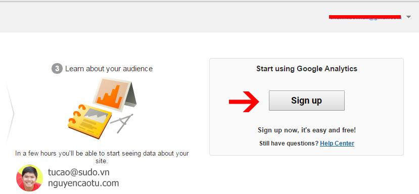 Đăng ký sử dụng Google Analytics nếu là Gmail mới.