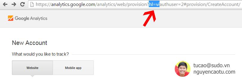 Chuyển ngôn ngữ Tiếng Anh sang Tiếng Việt trong Google Analytics. Thêm ?hl=vi vào url và nhấn Enter