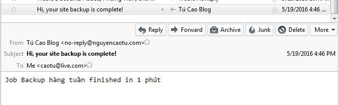 Email thông báo về cho Tú, Đã backup thành công. (Bạn nhớ check cả spam nhé)