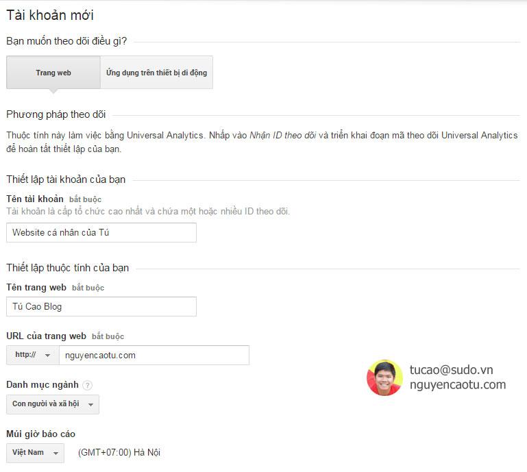 Khai báo thông tin Website vào Google Analytics