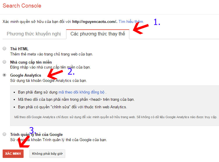 Xác minh Google Webmaster Tools sử dụng Google Analytics