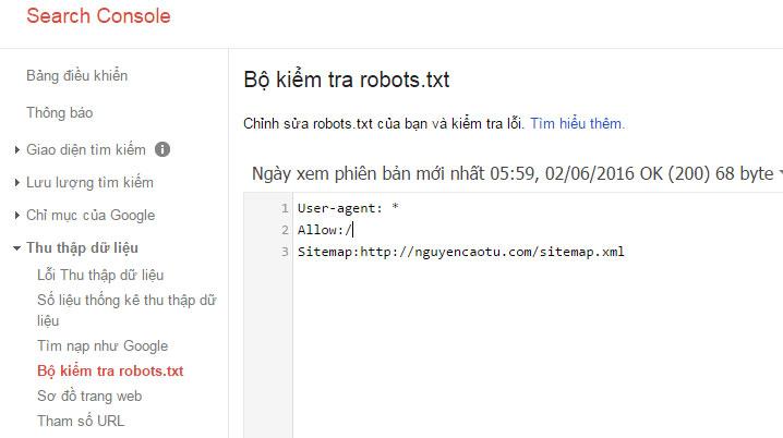 Bộ kiểm tra file Robots của Website