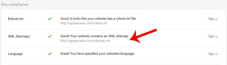 Website có sitemap.xml