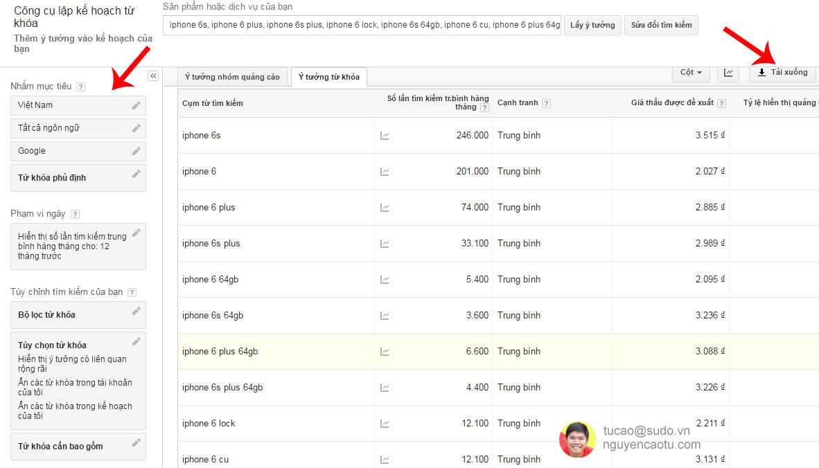 Kiểm tra nhu cầu tìm kiếm của iPhone 6 mỗi tháng
