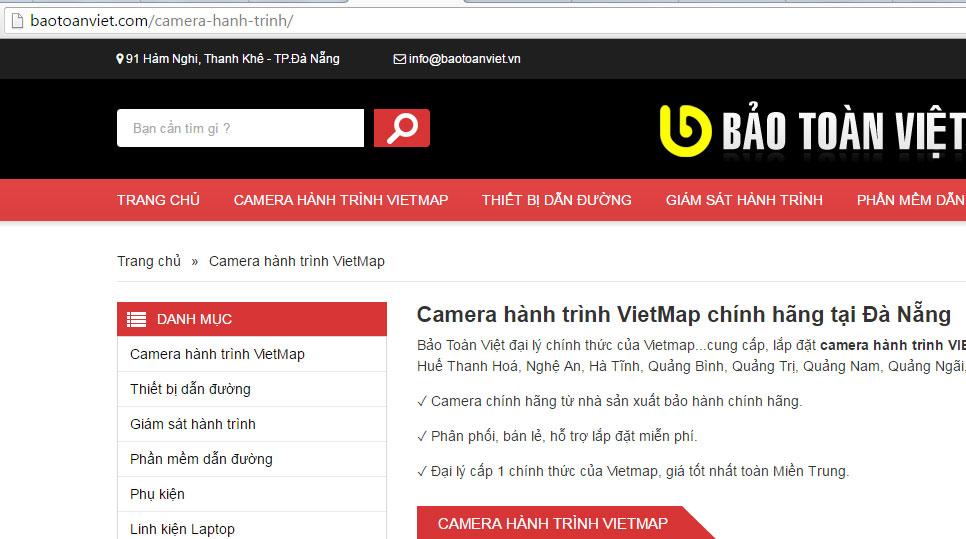 Trang danh mục Camera Hành Trình của Website Bảo Toàn Việt