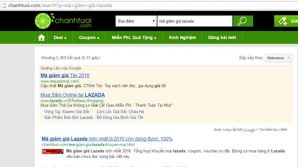 """Kết quả trang đích tìm kiếm với từ khóa """"mã giảm giá lazada"""""""
