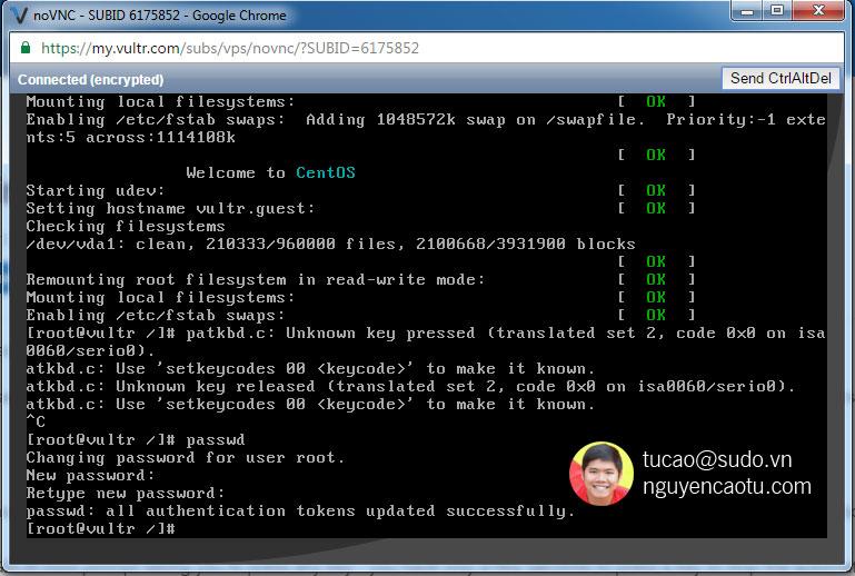 Gõ passwd để đổi password trên linux