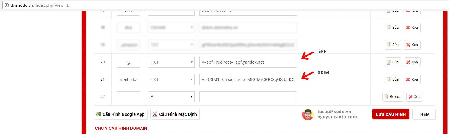 Tạo bản ghi xác thực tên miền DKIM và SPF của Yandex