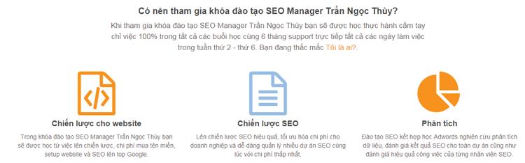 Coupon giảm 20% khóa học SEO Manager của Trần Ngọc Thùy