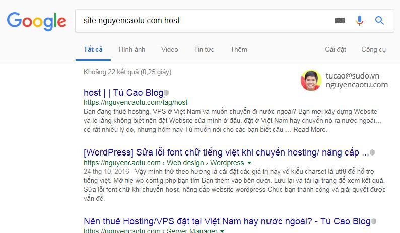 Google đánh giá với từ khóa Host trên website có chất lượng tốt hơn bài viết gốc