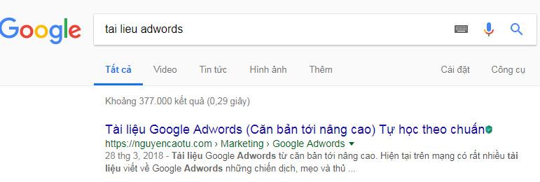 VD: Tìm kiếm từ khóa tài liệu adwords