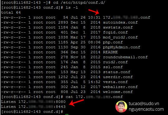 Thay đổi địa chỉ IP cấu hình httpd