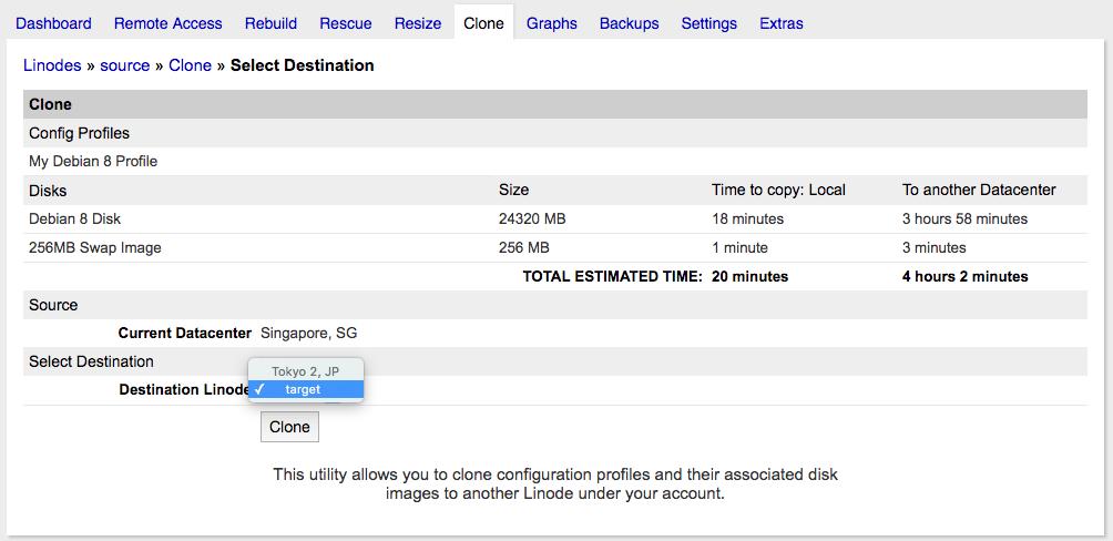 Clone VPS, Server trên Linode