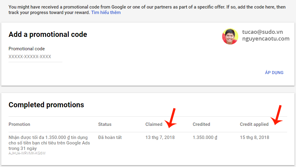 Áp dụng mã khuyến mại Google Adwords