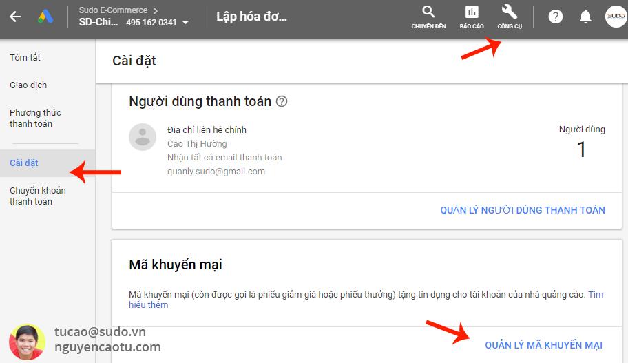 Cách sử dụng mã khuyến mại Google Ads