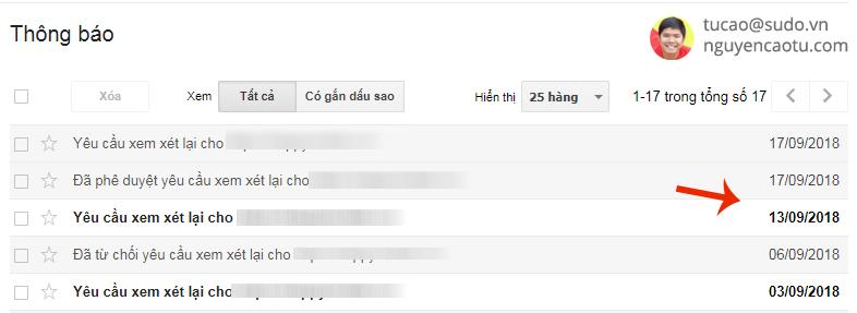 Yêu cầu xem xét lại Spam tác vụ thủ công