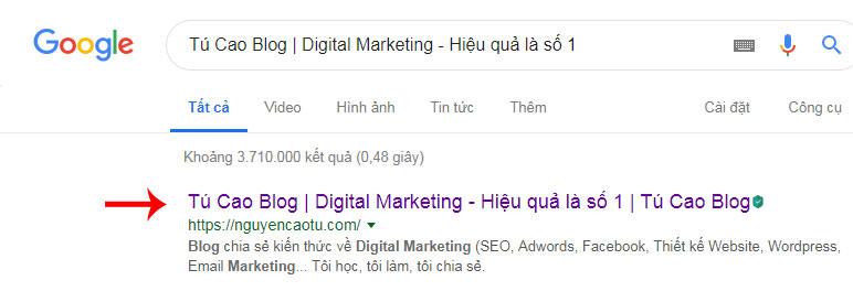 Nội dung hiển thị trên Google của thẻ Title tag