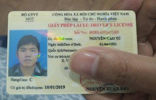 Giấy phép lái xe hết hạn vào ngày 10/1/2019