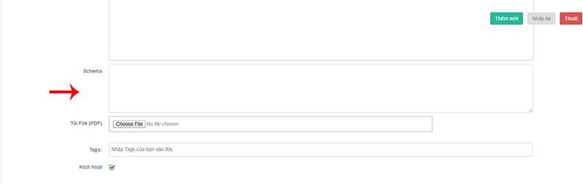 Chèn đoạn code sau khi sửa của bạn vào ô Schema.