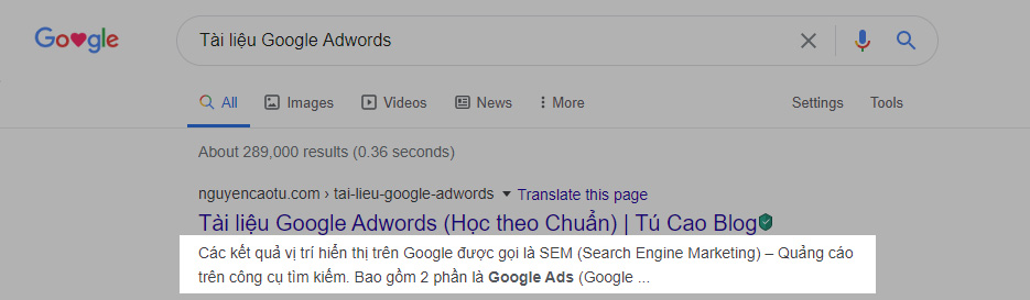Mô tả bài viết trên Google