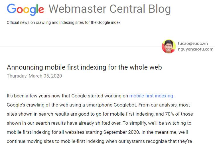 Google thông báo ưu tiên lập chỉ mục cho Mobile