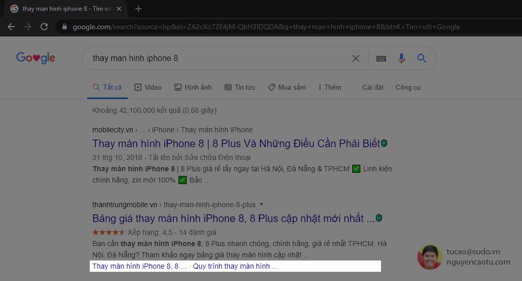 Sitelink trên Google cho mỗi trang đích