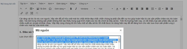 Đoạn code thừa trong khung soạn thảo