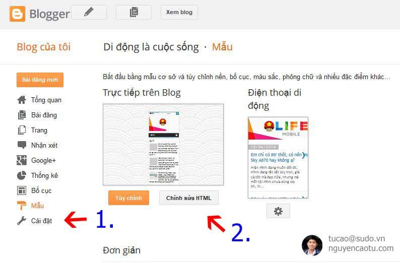 chinh sua html blogspot