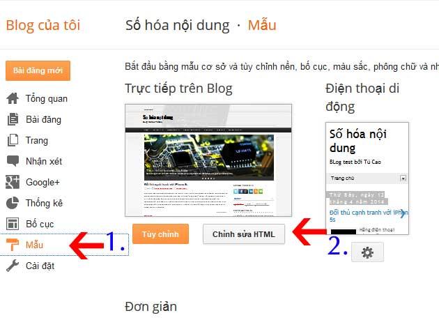 Chỉnh sửa HTML Blogspot